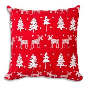 Reindeer and Trees Cotton Throw Pillow